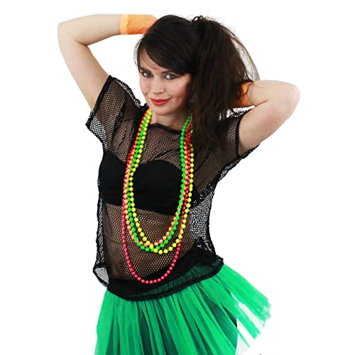 243a0a83c50d LADIES 80S MESH TOP FANCY DRESS ACCESSORY WITH NEON BEADS GREEN, ORANGE,  PINK &