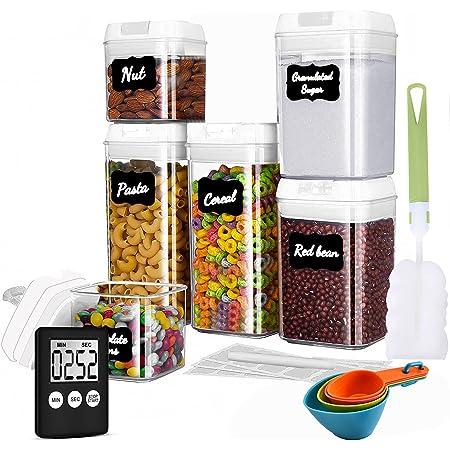 Benooa Boite Hermetique Alimentaire en Plastique Durable sans BPA Boite Conservation Alimentaire Boites de Rangement Cuisine en Plastique Scellée avec Couvercle Bocal Minuteur dans la Cuisine-6