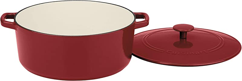 Cuisinart CI670 30CR Chef S Classic Enameled Cast Iron 7 Quart Round Covered Casserole Cardinal Red
