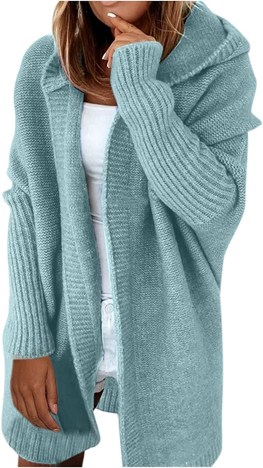 FORUU Cardigan Sweaters for Women 2021,Hooded Cardigans Solid Open Front Cardigans Stitch Batwing Sweater Knitted Coat