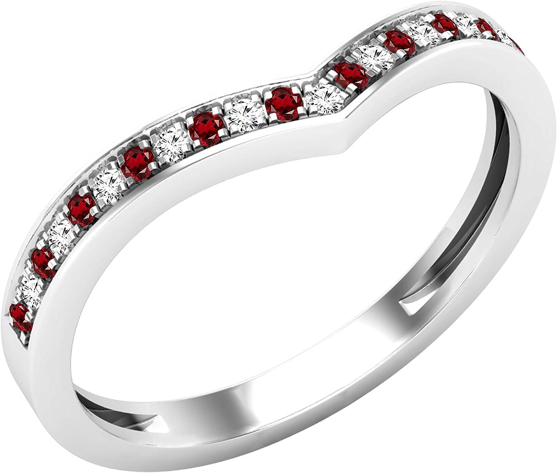 Dazzlingrock Collection Round Gemstone & White Diamond Ladies Bridal Chevron Anniversary Wedding Band, 10K White Gold