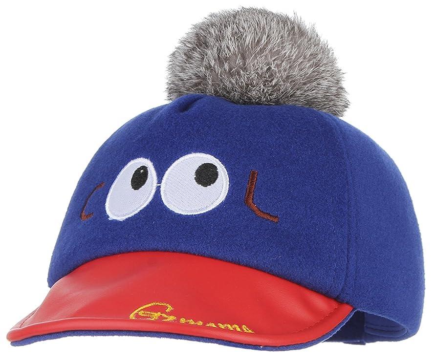 シール文字通り後ろにC-Princess ベビー 赤ちゃん 帽子 キャスケット ハンチング帽 キャップ ポンポン付き かわいい 秋冬 防寒 子供 キッズ アウトドア お出かけ ネイビー