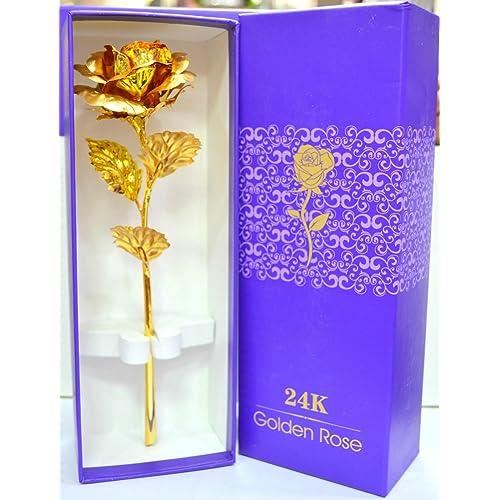 Rks Global Golden Rose Flower 24 K Special Gift For Valentines Love Ones Birthday