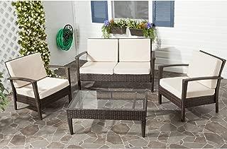 Safavieh Outdoor Collection Piscataway Brown and Beige 4 Piece Wicker Patio Set, Linen Grey