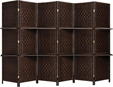 RHF 6 ft.Tall-Extra Wide-Diamond Weave Fiber 6 Panels Room Divider/6 Panels Screen Folding Privacy Partition Wall With 2 Disp