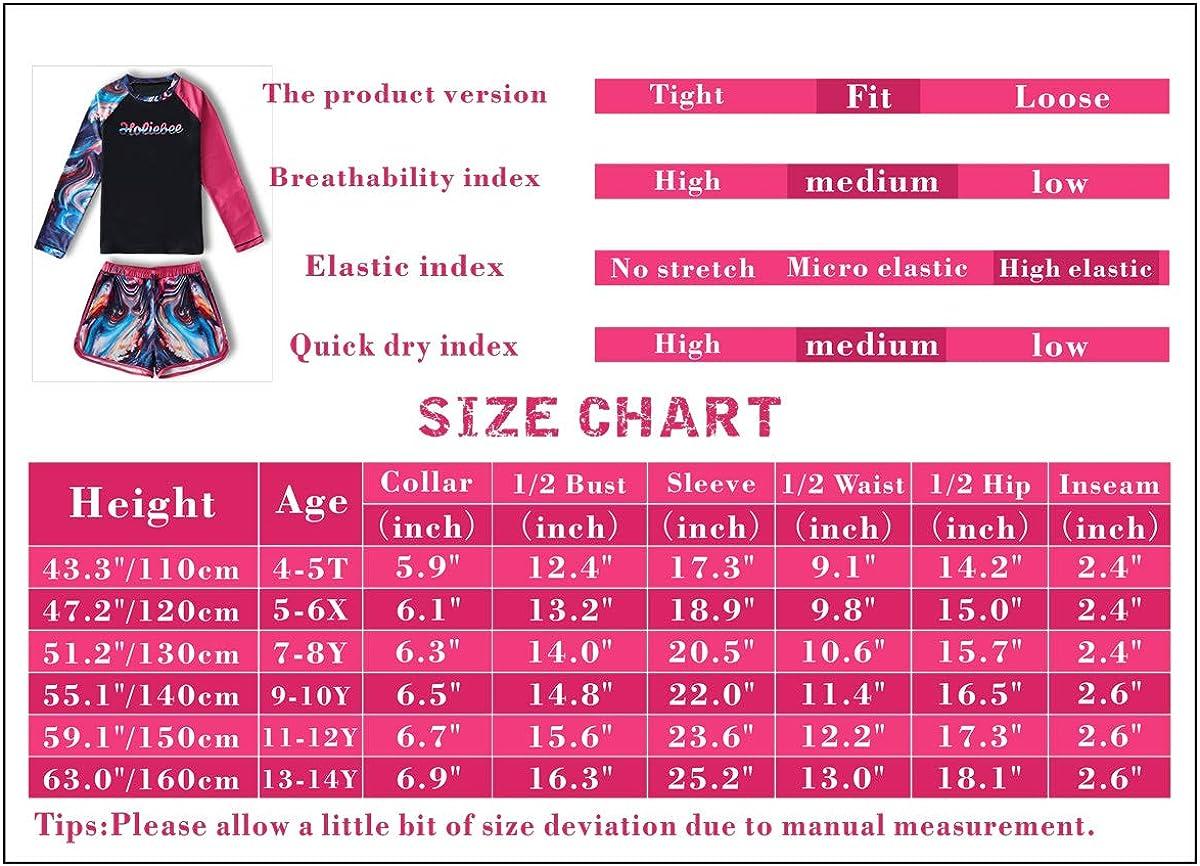 Girls Swimsuits Rash Guard 2 Pieces Set with Swim Hat Quick Dry Swimwear UPF 50 Sun Protection 4-14 Years