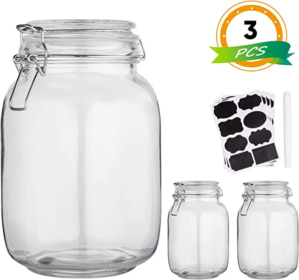Glass Kitchen Storage Canister Mason Jars With Lids 50oz Airtight Glass Canister With Hinged Lid Perfect For Kitchen Canning Cereal Pasta Sugar Beans Labels Chalk Marker Set Of 3
