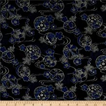 Kokka Japanese Traditional Temari Ball Canvas Blue, Fabric by the Yard