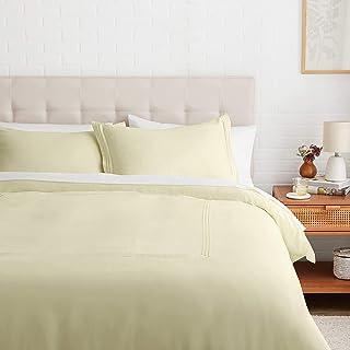 Amazon Basics Embroidered Hotel Stitch Duvet Cover Set - Soft, Easy-Wash Microfiber - King, Aloe Green