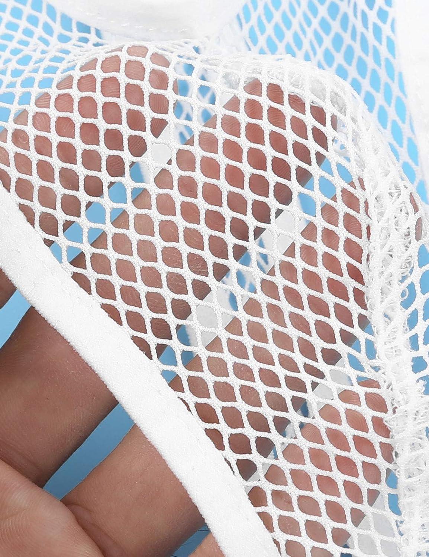ranrann Mens Fishnet See Through Y-Back Mankini Thong Jocksrtaps Suspender Underwear Bodysuit