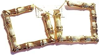 Bamboo Hoop Earrings Gold Tone Square Hoop Earrings 4 Inch Square