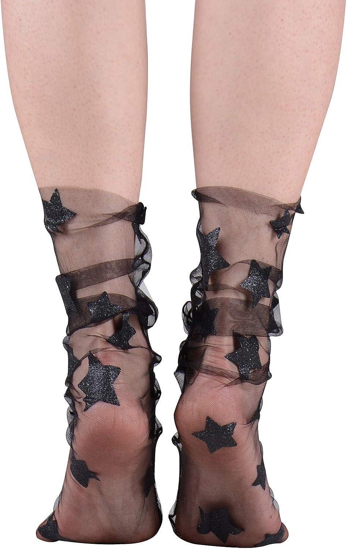 mesh bow fishnet sock hosiery lace socks transparent sky blue tulle socks Mothers day gift ideas women Harajuku Glitter star socks