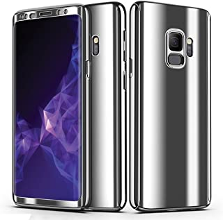 FastSun S9 Case, Ultra-Thin Luxury Electroplate 360 Full Body Shockproof Rugged Slim Hard Plating Mirror Smooth Matte + Screen Protector Cover case for Samsung Galaxy S9 (Silver)