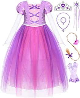 Long Hair Costume Princess Generic Dress Up with Long Braid and Tiara for Girls Party