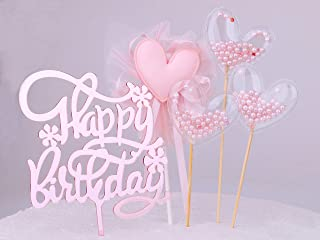Pink Heart Happy Birthday Cake Topper, Restards Set of 5 Lovely Heart Cake Toppers Pink Party Decoration for Birthday Party Baby Shower Supplies