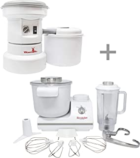 Powerful Electric Grain Mill Grinder and Dough Kitchen Mixer Bundle for Home and Professional Use - High Speed Flour Mill ...