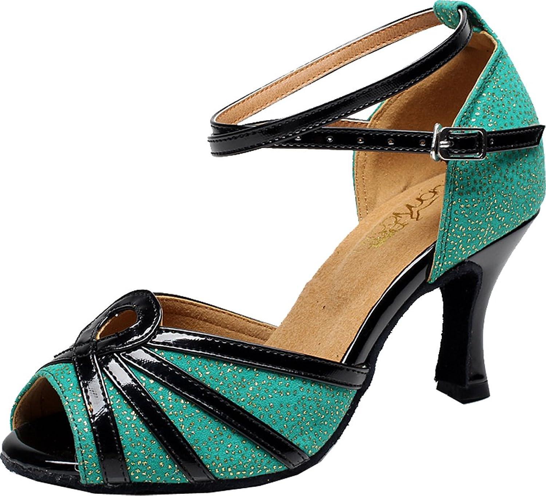 Abby Womens Latin Tango Cha-Cha Salsa Party Modern Mid Heel Peep-Toe PU Professional Dance-shoes