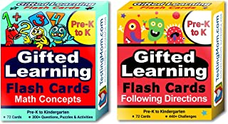 Gifted Learning Flash Cards (2-Pack) – Math and Following Directions for Pre-K - Kindergarten – Gifted and Talented Educational Toy Practice for CogAT, OLSAT, Iowa, SCAT, WISC, ERB, WPPSI and more