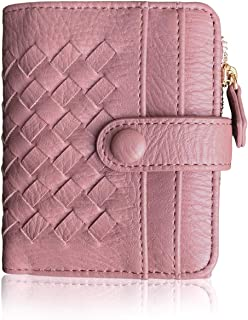 Womens Wallet Rfid Small Compact Bifold Leather Pocket Wallet,Ladies Mini Zipper Coin Purse