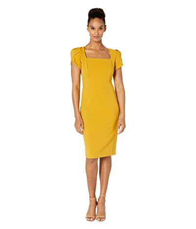 Donna Morgan Tulip Cap Sleeve Square Neck Sheath Crepe Dress (Marigold) Women