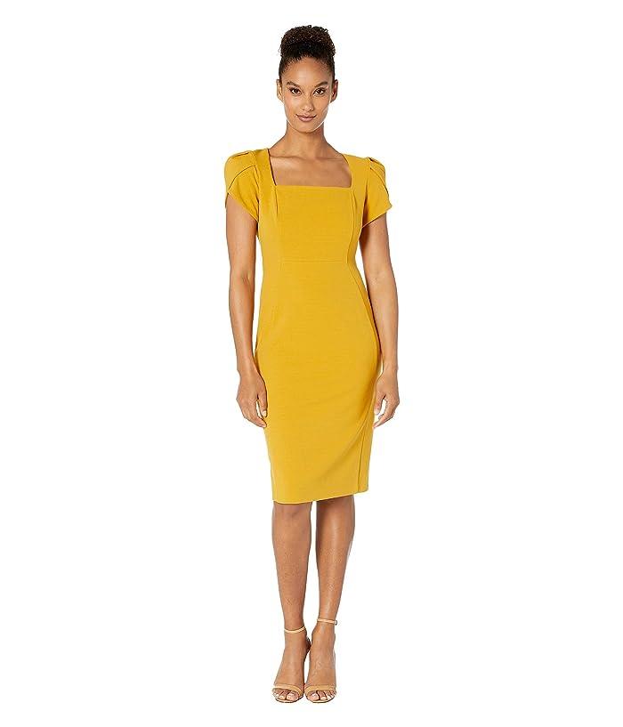 Donna Morgan  Tulip Cap Sleeve Square Neck Sheath Crepe Dress (Marigold) Womens Dress