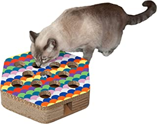 Furhaven Pet Cat Furniture - Tiger Tough Hexagon Busy Box Toy Corrugated Cat Scratcher with Catnip for Cats and Kittens, R...