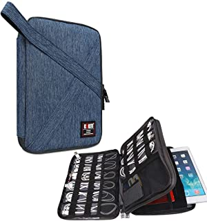 """BUBM Electronic Accessories Organizer, Double Layer Travel Gadget Bag for Cable, USB Hard Drive, Earphone and More, A Padded Pouch Fits for iPad or up to 9.7"""" Tablet,Denim Blue"""