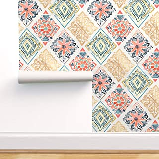Spoonflower Pre-Pasted Removable Wallpaper, Gold and Blue Floral Daimond Pysanky Tangerinetane Salmon Blush Teal Gouache P...