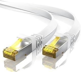 5m CAT 7 Netzwerkkabel Flach   Ethernet Kabel   Gigabit Lan 10 Gbit s   Patchkabel   Flachbandkabel   Verlegekabel   Cat.7 Rohkabel U FTP PIMF Schirmung mit RJ 45 Stecker   Switch Router Modem