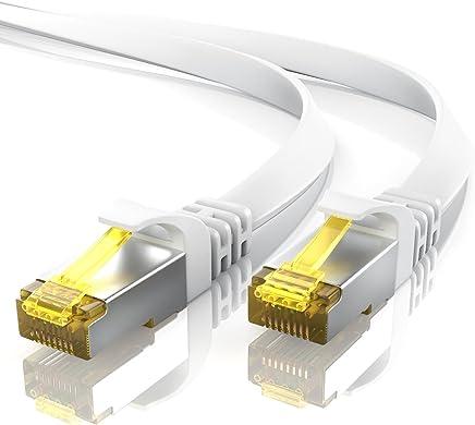 10m CAT 7 Netzwerkkabel Flach - Ethernet Kabel   Gigabit Lan 10 Gbit/s   Patchkabel - Flachbandkabel - Verlegekabel   Cat.7 Rohkabel U/FTP PIMF Schirmung mit RJ 45 Stecker   Switch Router Modem