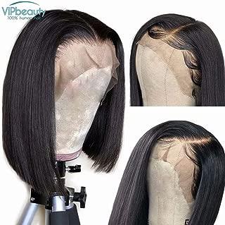 VIPbeauty Bob Wig Women Short Hair Brazilian Natural Virgin Human Hair Straignt Lace Front Natural Black