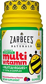 Zarbee's Naturals Children's Complete Multivitamin + Fruits & Veggies Gummies, Mixed Berry Flavors, 60 Gummies