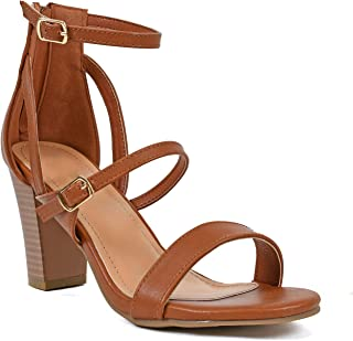 Best Womens Comfortable Strappy Chunky Block Sandal - Ankle Strap Open Toe Heeled Shoe Sandal… Review
