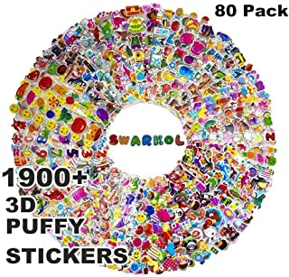Stickers for Kids 1900+, 80 Different Sheets, 3D Puffy Stickers, Bulk Kids Stickers for Girl Boy Birthday Gift, Craft Scrapbooking, Teachers, Toddlers, Including Animals, Stars, Fish, Hearts and More