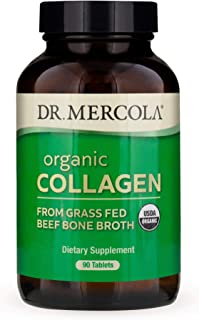 Dr. Mercola, Organic Collagen from Grass Fed Beef Bone Broth Tablets, 30 Servings (90 Tablets), Non GMO, Soy Free, Gluten Free, USDA Organic