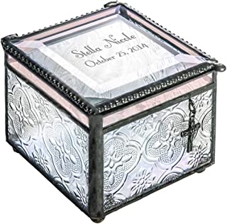 J Devlin Box 631 EB 217-2 Personalized Glass Box Christian Cross Baptism Christening Keepsake Gift