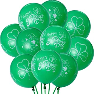 Zhanmai 30 Pieces St. Patrick's Balloons Green Shamrock Balloons for St. Patrick's Day Party Decoration, 3 Styles