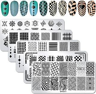 WOKOTO 5Pcs Nail Plates Stamping Set With Classic Geometric Stars Nail Image Plate Stamping Nail Art Kit For Women Girls