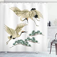 Lunarable Bird Shower Curtain, Two Japanese Cranes Flying Traditional Painting Style Far Eastern Illustration, Fabric Bathroom Decor Set with Hooks, 84 inches Extra Long, Ivory Green Black