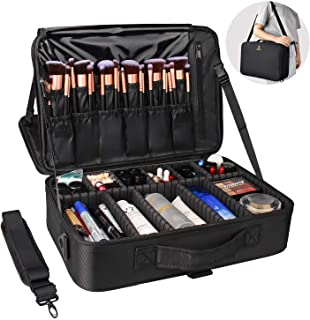 Relavel Makeup Bag Travel Makeup Train Case Large Cosmetic Case Professional Portable Makeup Brush Holder Organizer and St...