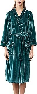 Ladies Mens Dressing Gown Long Comfortable Soft Velvet Bathrobe Comfortable Sizes 3/4 Sleeve V Neck Loose Casual Unisex Co...