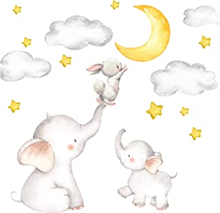 Little Deco Muursticker babykamer olifant en haas met maan en sterren I 163 x 95 cm (B x H) I kinderfoto's deco kinderkame...