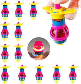 Huji Toy LED Light Up Flashing Gyroscope Spinning Top Toys Novelty Party Favors (12 Pack)