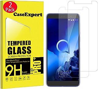 CaseExpert 2-pack – Alcatel 1X (2019) härdat glas, kristallklart skärmskydd skydd och putsduk för Alcatel 1X (2019)