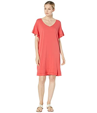 Mod-o-doc Cotton Modal Tiered Flounce Sleeve Shift Dress (Hibiscus) Women