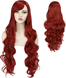 Red Curly Wig Women's Long Curly Wigs Cosplay Party Wig with Wig Cap(red)