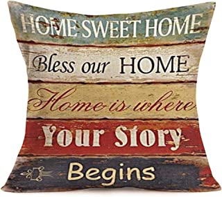 Asminifor Pillow Covers Retro Vintage Wood Grain Warm Sayings Bless Our Home Prints Cotton Linen Throw Pillow Case Cushion Cover Home Office Decorative Square 18