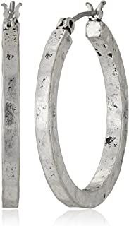 Silver-Tone Small Hammered Round Hoop Earrings