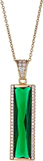Joy and Rachel Gold Plated 925 Sterling Silver Baguette Green CZ Vertical Rectangle Bar Pave Pendant Necklace