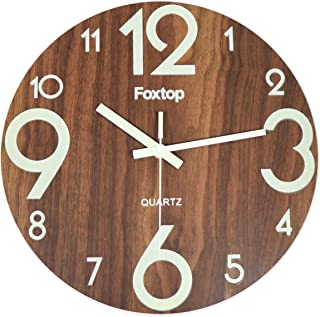 Foxtop Night Light Function Wooden Wall Clock, 12 inch Silent Non Ticking Wall Clock Battery Operated Vintage Rustic Country Tuscan Style for Kitchen Bedroom Office Home Indoor